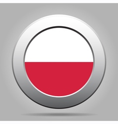 Metal button with flag of poland vector