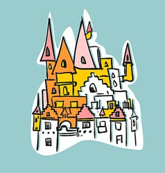 Sketch royal castle with towers historical fantasy vector