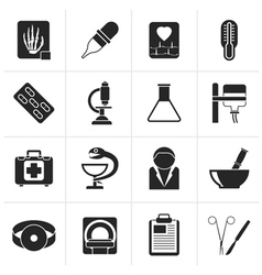 Black healthcare and medicine icons vector