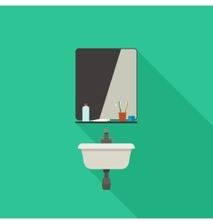 Bathroom sink with mirror vector