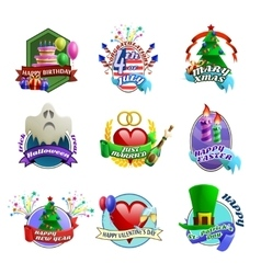 Holydays Celebrations Emblems Collection vector image