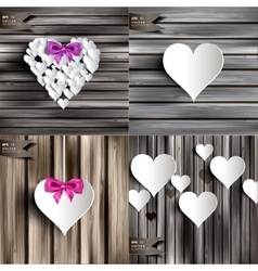 Valentines day abstract cards with paper hearts vector