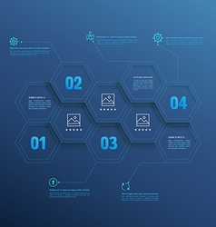 Line infographic hexagons with number options vector image