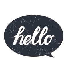 Hello hand draw lettering calligraphy on black vector