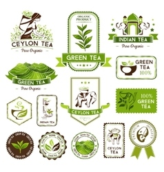 Green indian and ceylon tea labels vector