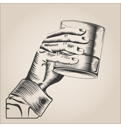 Male hand holding glass alcohol drink vector