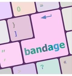 Bandage word on keyboard key notebook computer vector