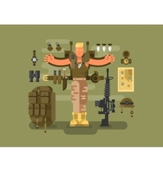 Soldier and ammunition design flat vector
