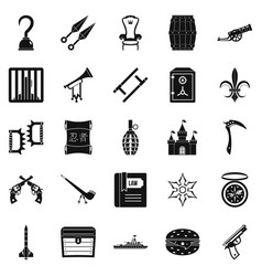 Armament icons set simple style vector