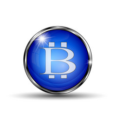 button with bitcoin symbol vector image vector image