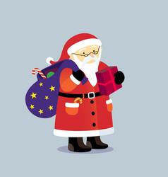 cartoon santa claus with bag of gifts postcard vector image vector image