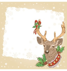 Christmas vintage postcard with santa deer vector