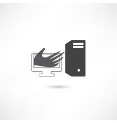 Computer help hand vector