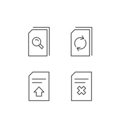 Document edit and upload line icons vector