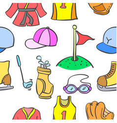Doodle of sport equipment pattern style vector