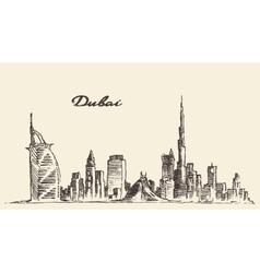 Dubai city skyline hand drawn vector