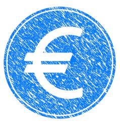 Euro coin grunge icon vector