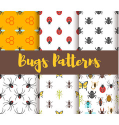 Flat style set of patterns with bug vector