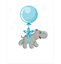 grey hippo flying in a blue ball vector image