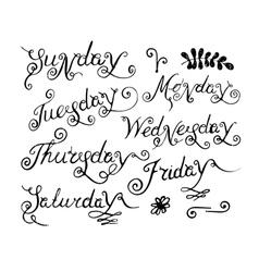 Handwritten days of the week vector image vector image