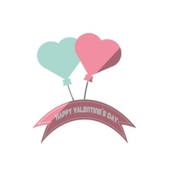 Happy valentines day card blue and pink heart vector