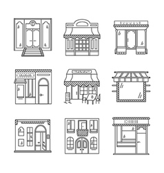 Linear icons for storefronts vector
