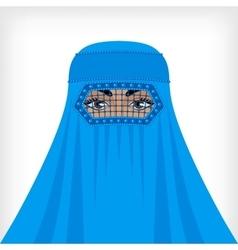 Muslim woman in blue burqa vector