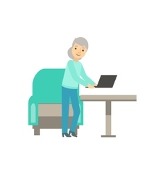 Old lady placing lap top on the table coworking vector