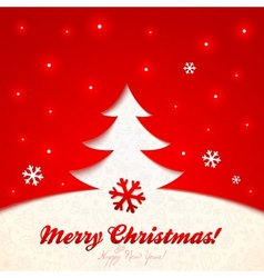 Red cutout paper christmas tree greeting card vector
