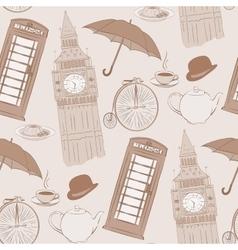 Retro hand drawn london pattern vector