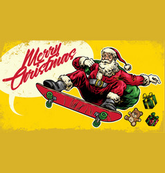 santa claus ride skateboard in hand drawing style vector image vector image
