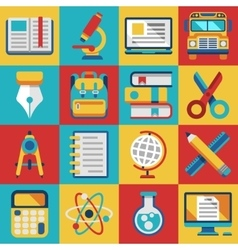 School and college education modern flat icons vector image