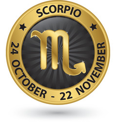Scorpio zodiac gold sign virgo symbol vector image