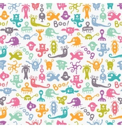 Seamless colorful print with funny monsters vector image vector image