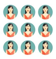 Set of nine different women emotions vector image vector image