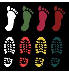 Shoe and bare foot print vector image vector image