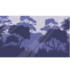Silhouette of jungle forest scenery vector