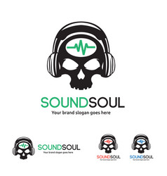 sound soul logo skull with headphone and wave vector image