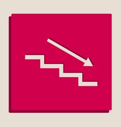 Stair down with arrow grayscale version vector