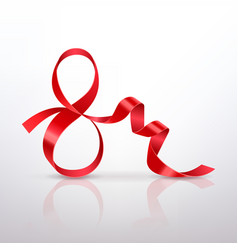 symbol march 8 of red satin ribbon vector image vector image