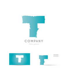 t blue letter alphabet logo icon design vector image