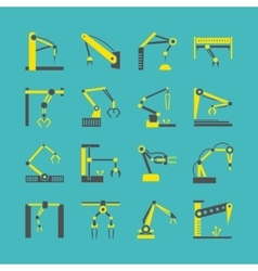 Technology factory robot arms equipment vector