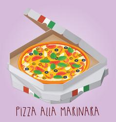 The real pizza alla marinara italian pizza in box vector