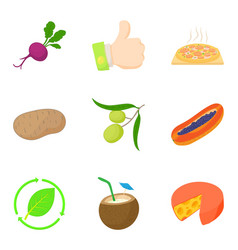 vegetable in food icons set cartoon style vector image