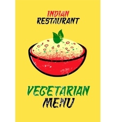 Vegetarian menu card for indian restaurant vector