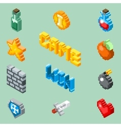 Pixel art game icons 8 bit isometric pictograms vector image