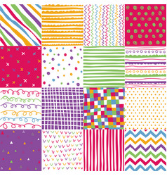 colorful seamless patterns with fabric texture vector image