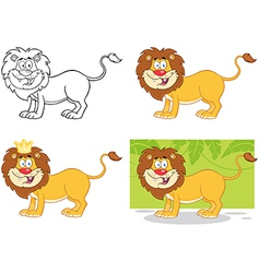 Lion cartoon character collection vector