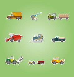 icons set with agricultural machinery vector image