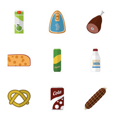 Flat icon meal set of meat smoked sausage fizzy vector